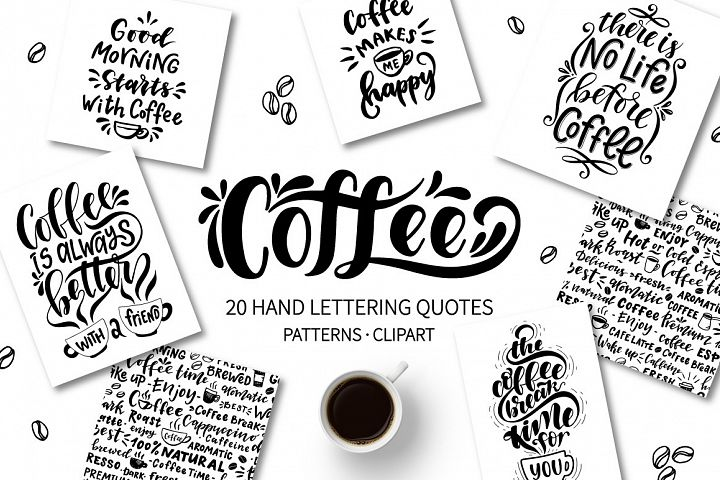 Coffee lettering set