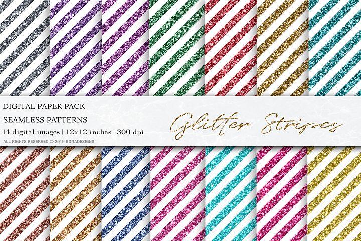 Glitter Stripes Digital Papers, Glitter Patterns, Stripes