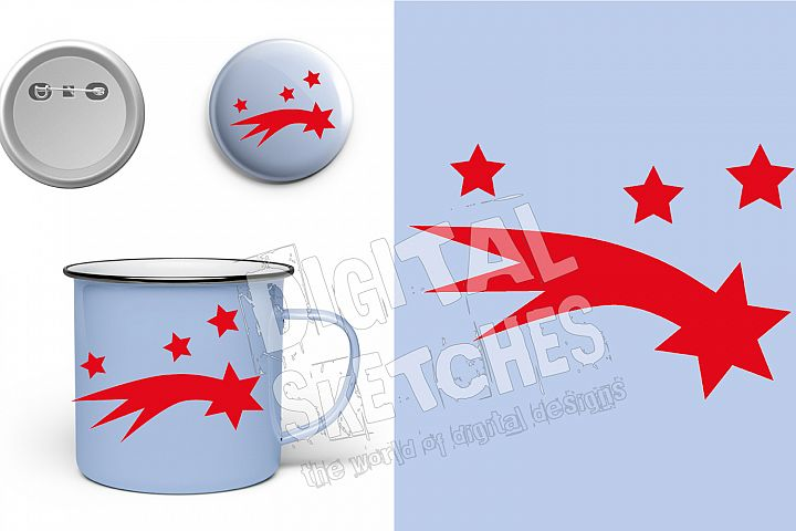 Shooting Star Cut File Vector Graphics Illustration