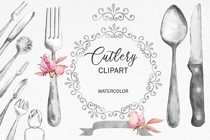 Watercolor Cutlery & Floral Decor, Silverware