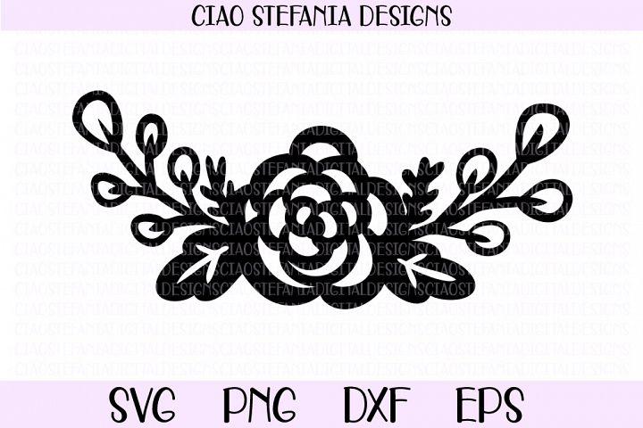 Rose Bouquet Flowers Half Wreath SVG PNG DXF EPS Cut File