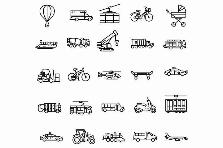 Transportation outline icons set