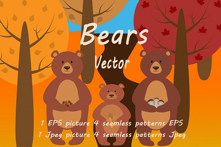 Bears in the forest vector illustration