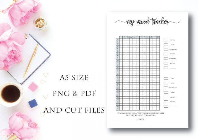 A5 Mood Tracker Printable, Mood Chart, Mood Journal, Monthly