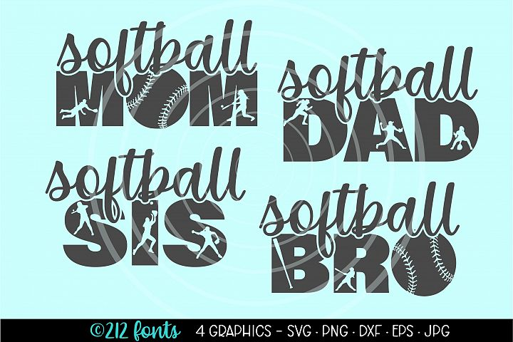 Softball Mom Dad Sis Bro Family Clip Art Cut File Graphics