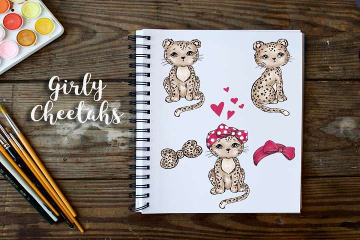Cute Girly Cheetahs Clip Art