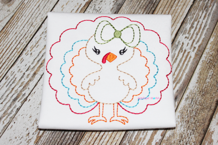 Vintage Floss Embroidery Bow Turkey
