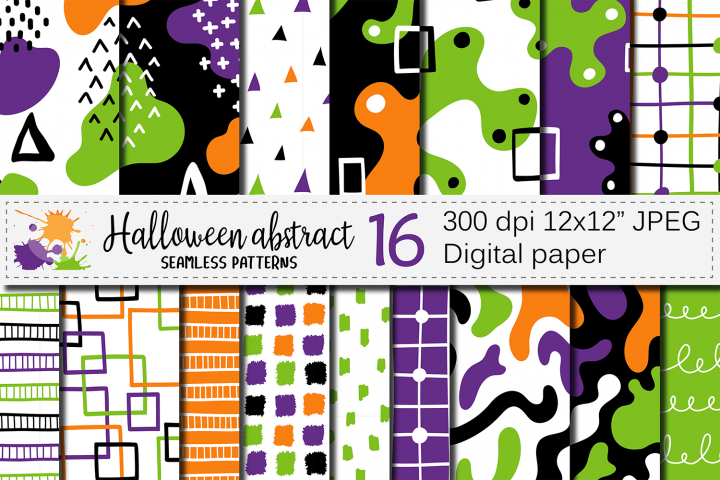Halloween abstract seamless digital papers / patterns