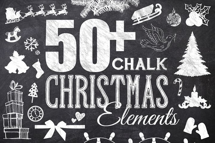 50 Chalk Christmas Elements