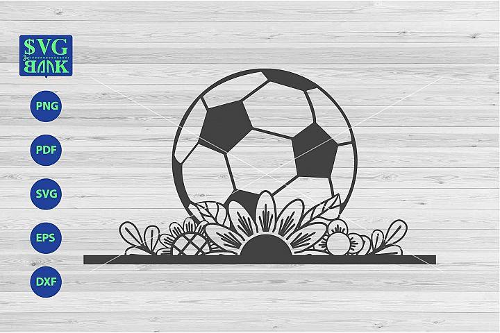 Soccer svg, football svg, soccer with flower cut file