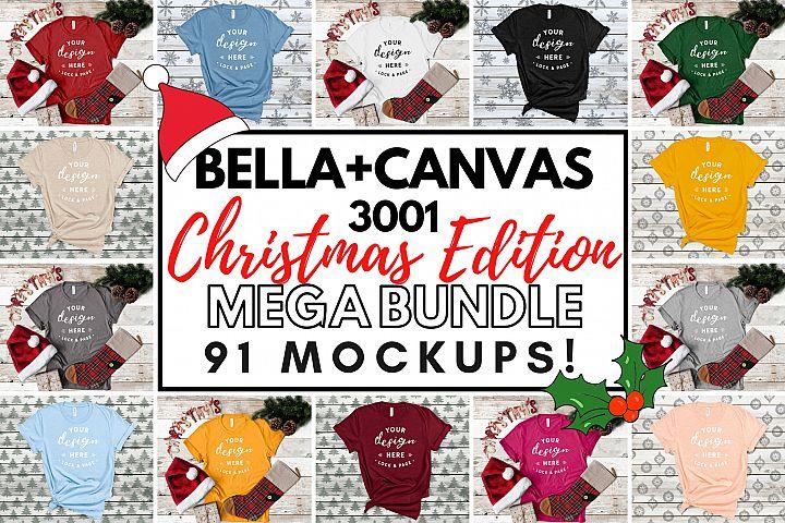 Christmas Bella Canvas 3001 Festive T-Shirt Mockup Bundle