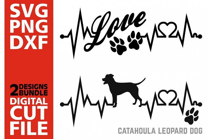 2x Catahoula Leopard Dog Bundle svg, Dog svg, Heartbeat svg