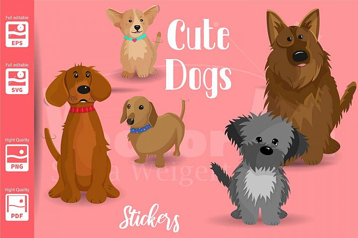 5 Dogs SVG - Suitable for Print, Cut and Sublimation