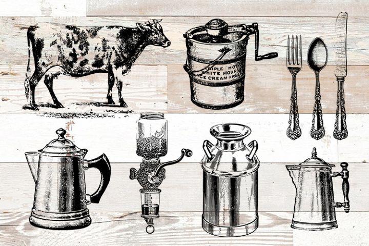 Farmhouse Farm Kitchen Vintage Bundle PNG, EPS, SVG Vector
