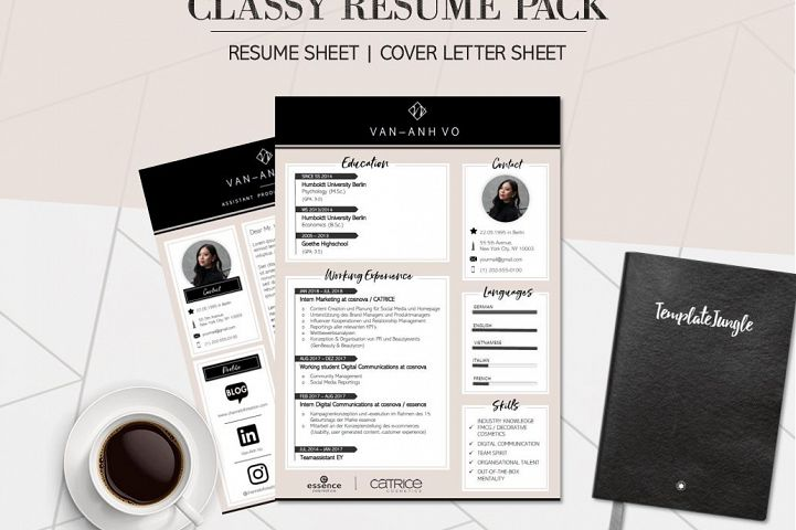 Modern Resume Template Pack - CLASSY - Professional CV & Cover Letter Template for Word (A4 Format) *fully customizable*