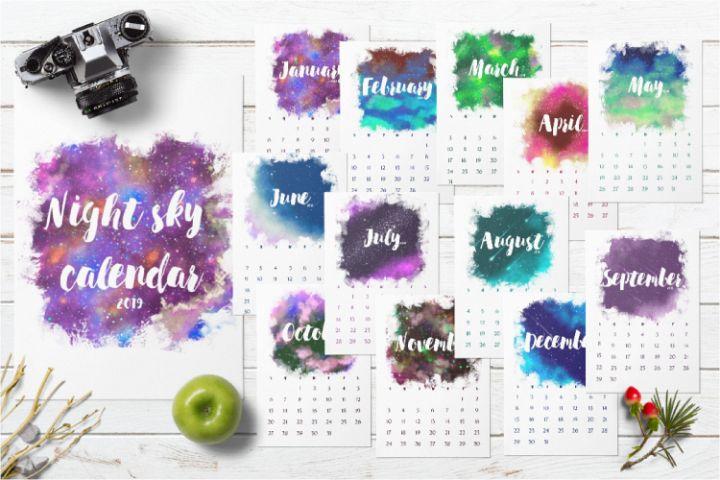 2019 Calendar printable. Galaxy monthly desk calendar