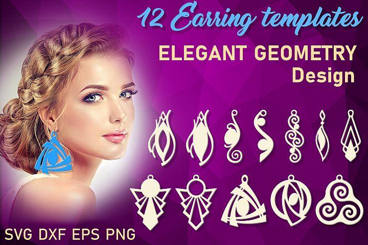 12 Geometric earrings svg Wood earrings svg Necklace svg