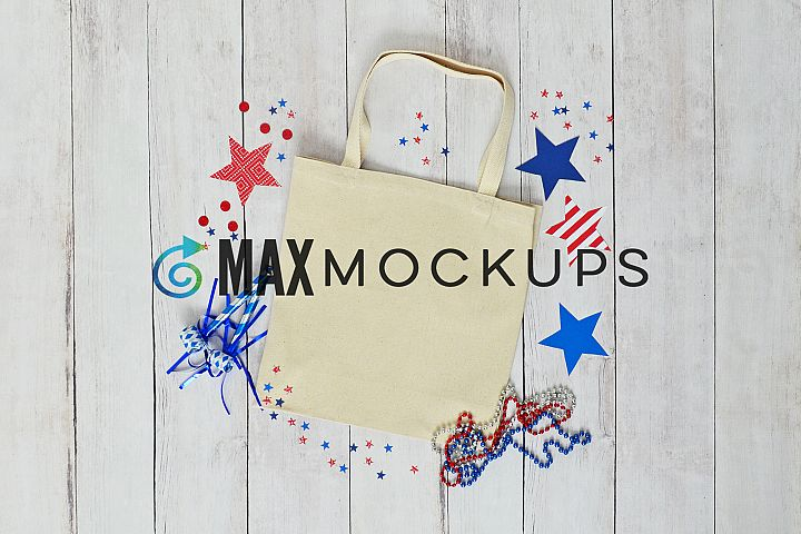 Canvas tote mockup, shopping bag, 4th of July stock photo