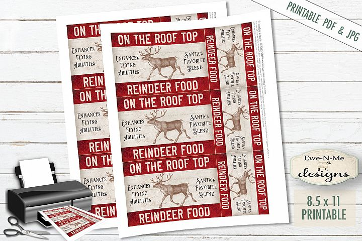 Printable Christmas Tags - Reindeer Food - Rooftop - PDF JPG