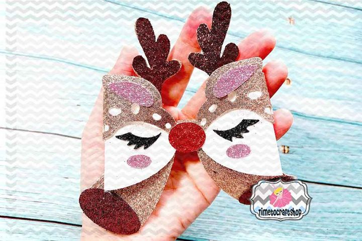 Holiday Christmas Deer Eyelashes Bow Template, Antlers Bow