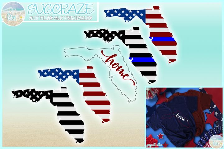 Florida State USA American Police Flag Patriotic SVG
