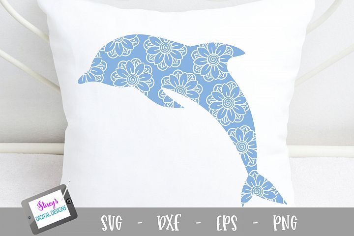 Dolphin SVG - Dolphin with floral mandala pattern