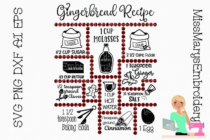Gingerbread Recipe SVG Cut File
