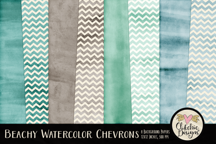 Beachy Watercolor Chevron Background Textures