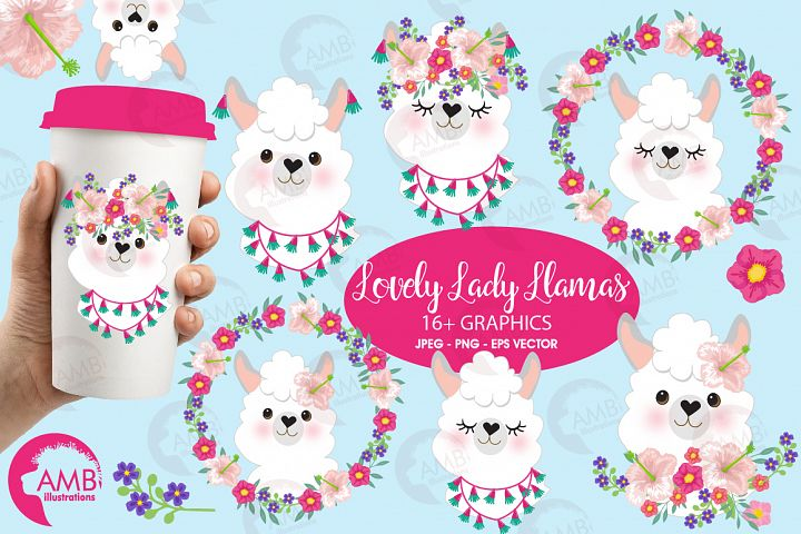 Llama Ladies clipart, graphics, illustrations, AMB-2102