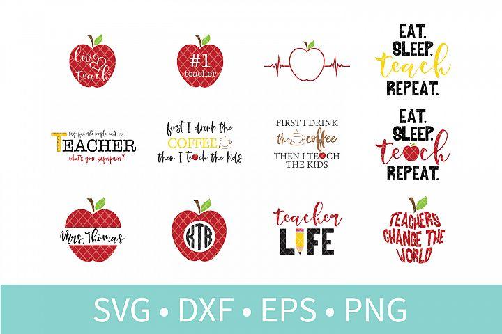 Teacher Appreciation SVG DXF EPS PNG Clipart Cut File Bundle