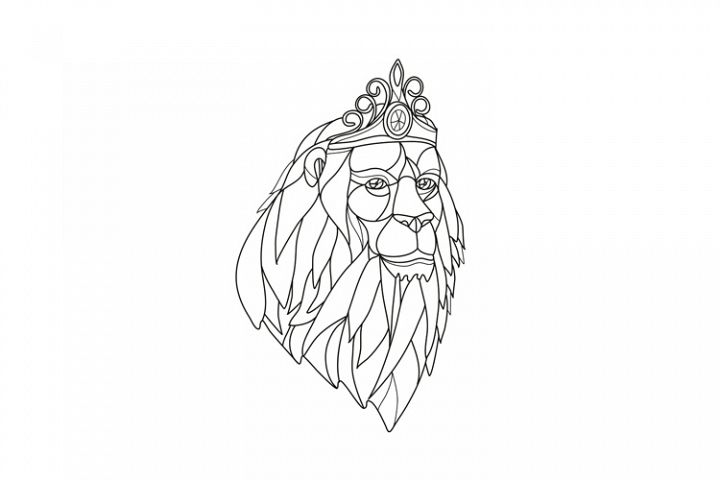 Lion Princess Wearing Tiara Mosaic Black and White