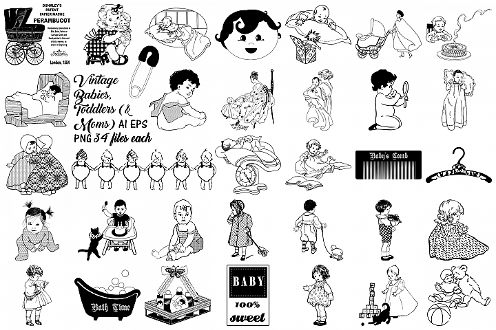 Vintage Babies, Toddles & Moms AI EPS PNG