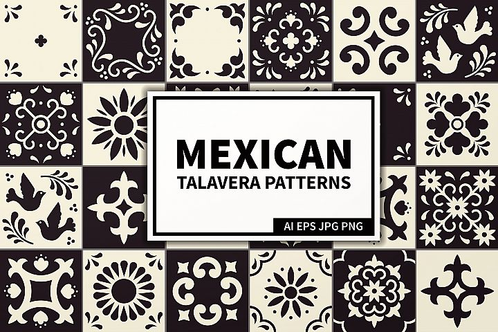 Mexican Talavera Tiles Patterns Set