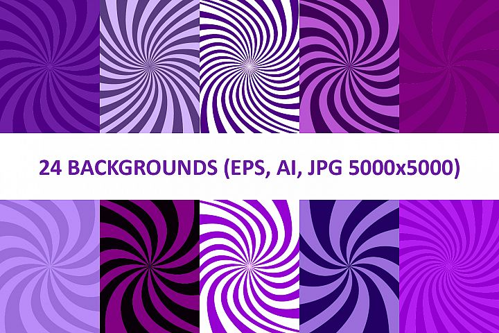 24 Purple Spiral Backgrounds AI, EPS, JPG 5000x5000