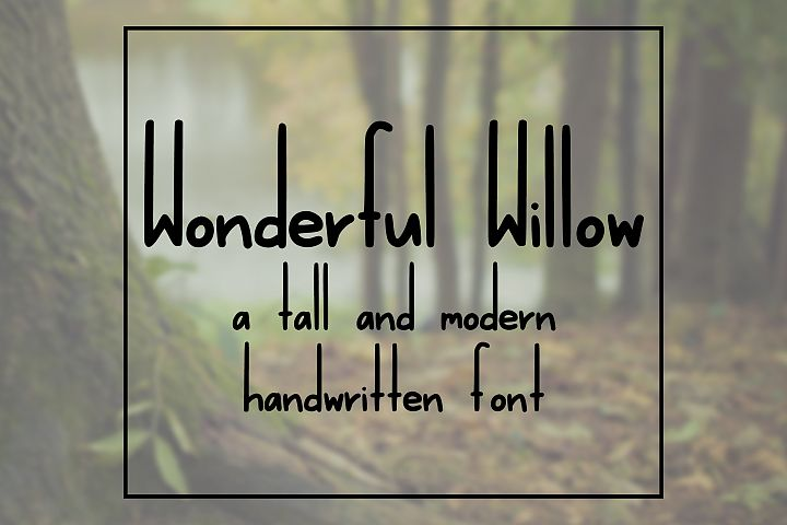 Wonderful Willow - Tall and Modern Handwritten Font