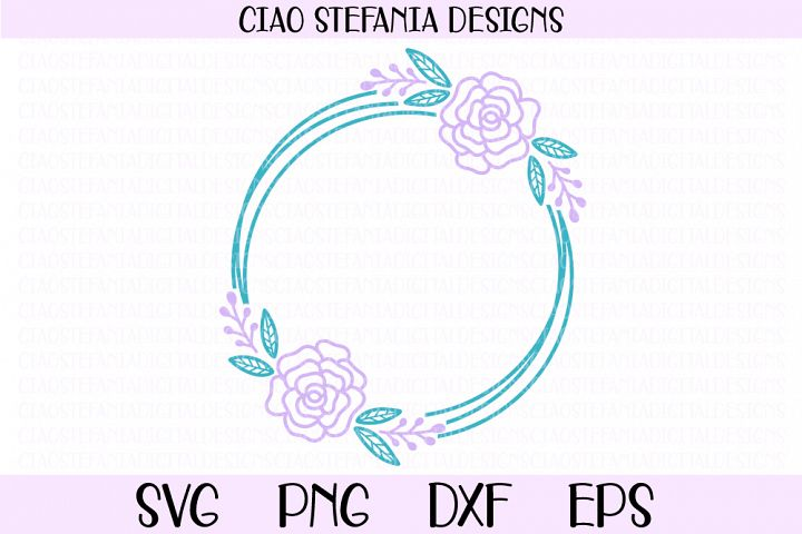 Rose Flower Geometric Circle Frame Wedding SVG PNG DXF EPS
