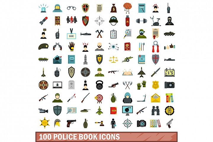 100 police book icons set, flat style