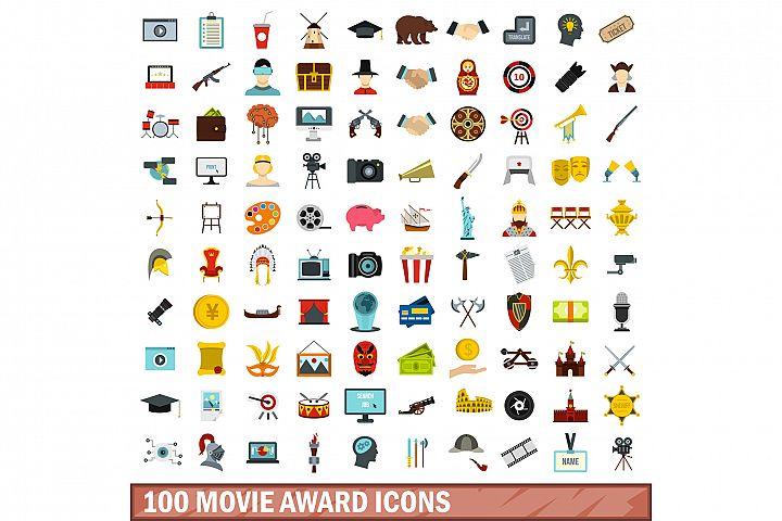 100 movie award icons set, flat style