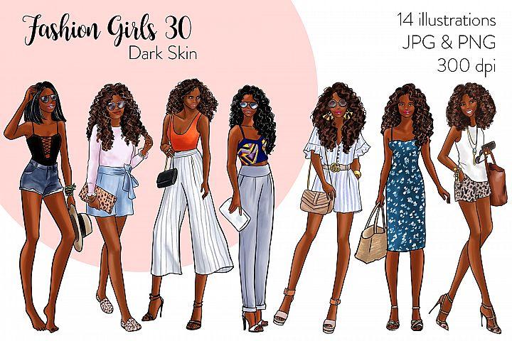 Fashion illustration clipart - Fashion Girls 30 - Dark Skin