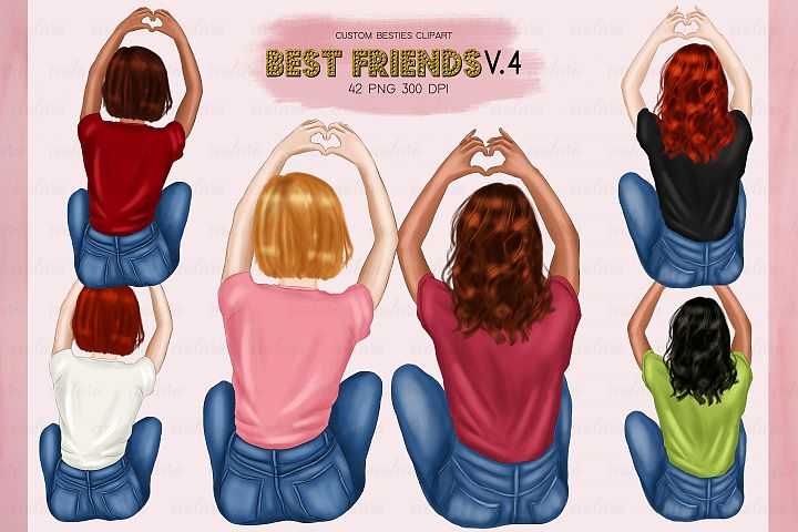 Best Friends Clipart Besties Clipart BFF Clipart Soul Sister