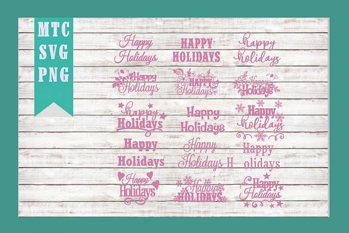Happy Holidays Scrapbook Craft BIG BUNDLE SVG Cut File