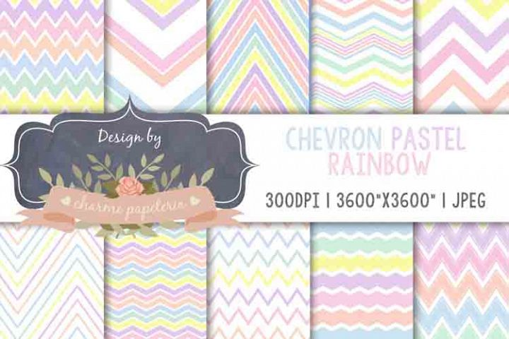 Rainbow chevron Digital Paper, Rainbow pastel paper