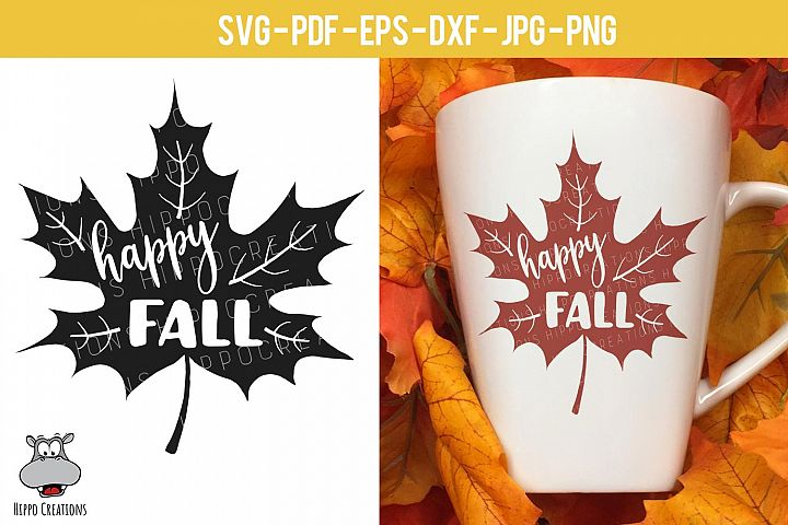 Happy Fall Leaf SVG, Autumn Leaf, Fall Leaf, EPS, DXF, PNG