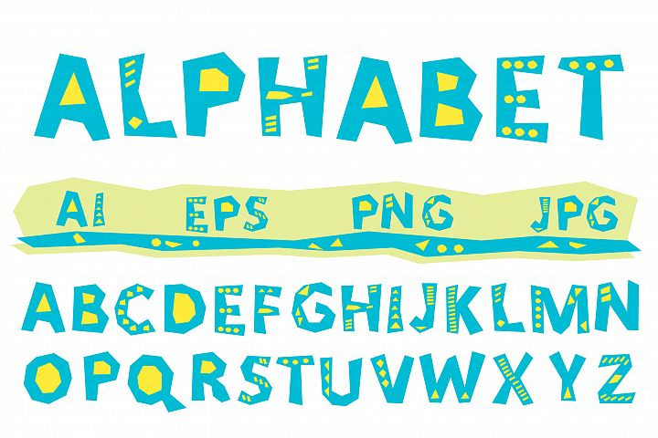 Vector alphabet, A to Z  blue letters