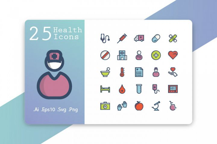 25 Health Icons Fill Line