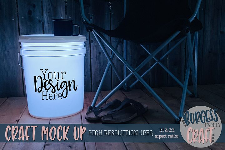 Bucket light table white Craft mock up| High Resolution JPEG