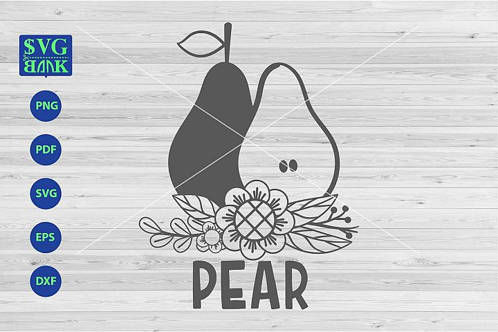 Pear svg, Pear with flower svg, png, dxf, cut