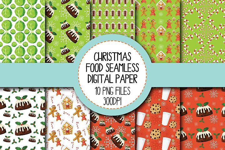 Watercolor Christmas Food Seamless Digital Papers Set 1