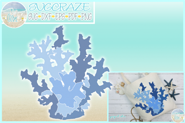 Coral Reef SVG Dxf Eps Png PDF Files For Cricut Silhouette