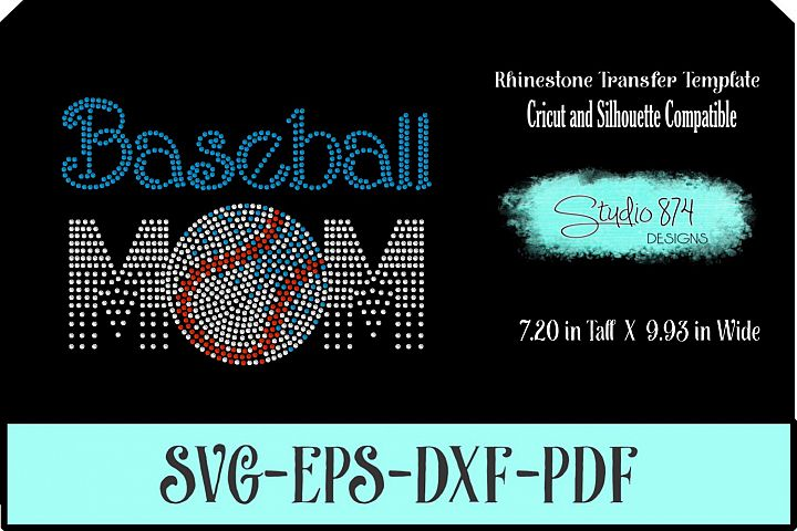 Baseball Mom Rhinestone SVG Template R5
